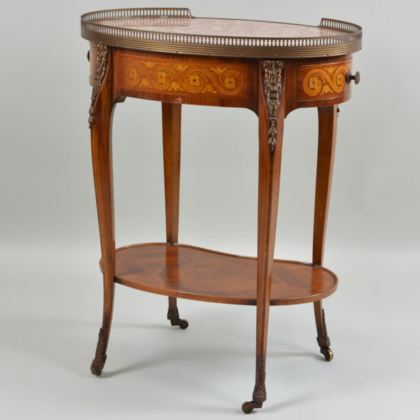 Early 19th Century Marble Top Oval Side Table Backside of Table