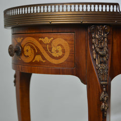 Early 19th Century Marble Top Oval Side Table Marquetry Detail on Drawers