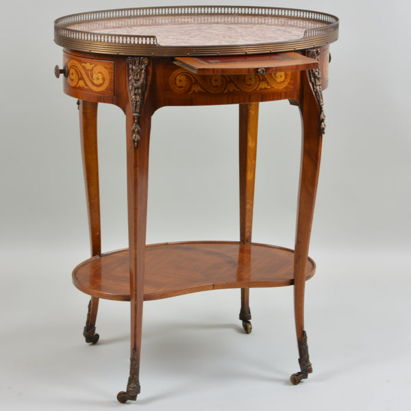 Early 19th Century Marble Top Oval Side Table Writing Surface Shown