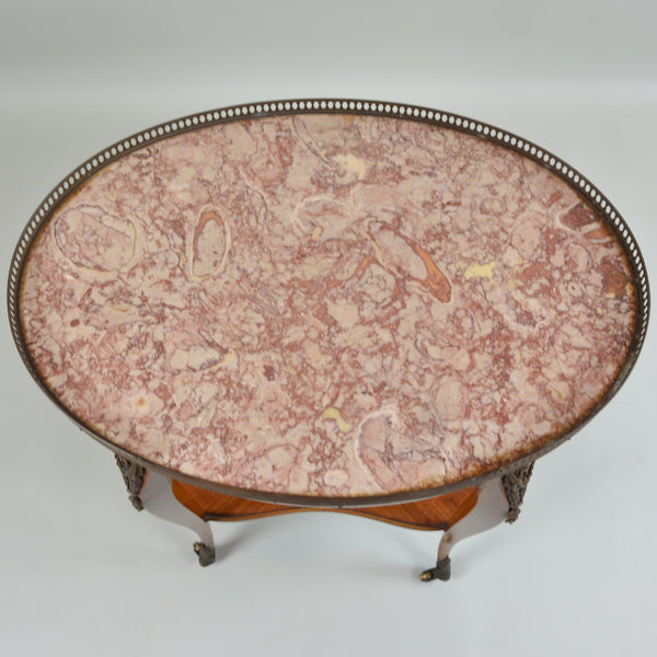 Early 19th Century Marble Top Oval Side Table Marble Detail