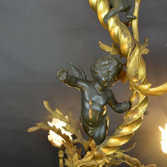 Large French Belle Époque Bronze 5-Light Chandelier Cherub Frosted Glass Covers
