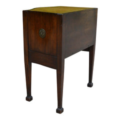 Antique Embossed Leather Top Side Table European Finds