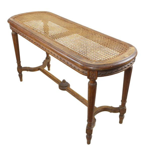 Antique Louis XV Style Cane Seat Window Bench