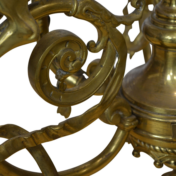 Napoleon III Brass Chandelier with Griffon Adorned Arms 9 Lights