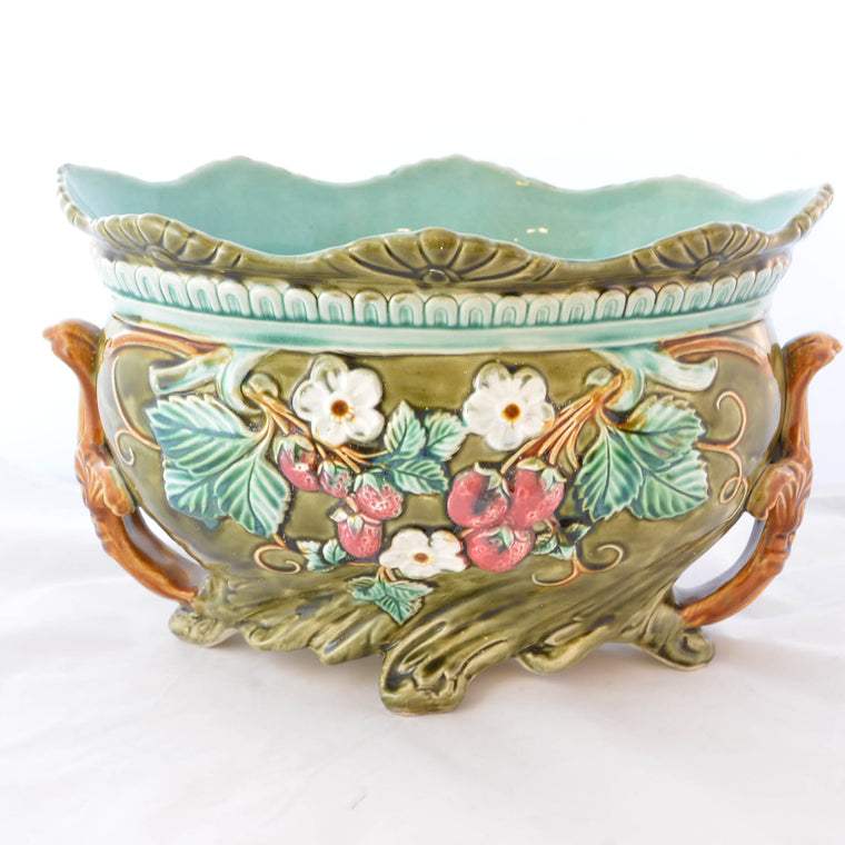 Antique Onnaing Majolica Jardiniere Urn with Strawberry Accents