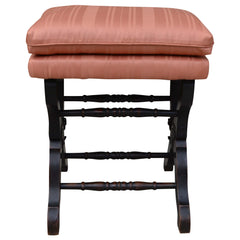 Antique Piano Stool Upholstered with Black Painted Legs
