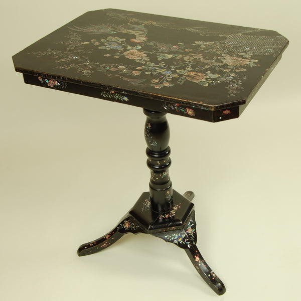 Antique Side Table with Mother of Pearl Inlay Back View