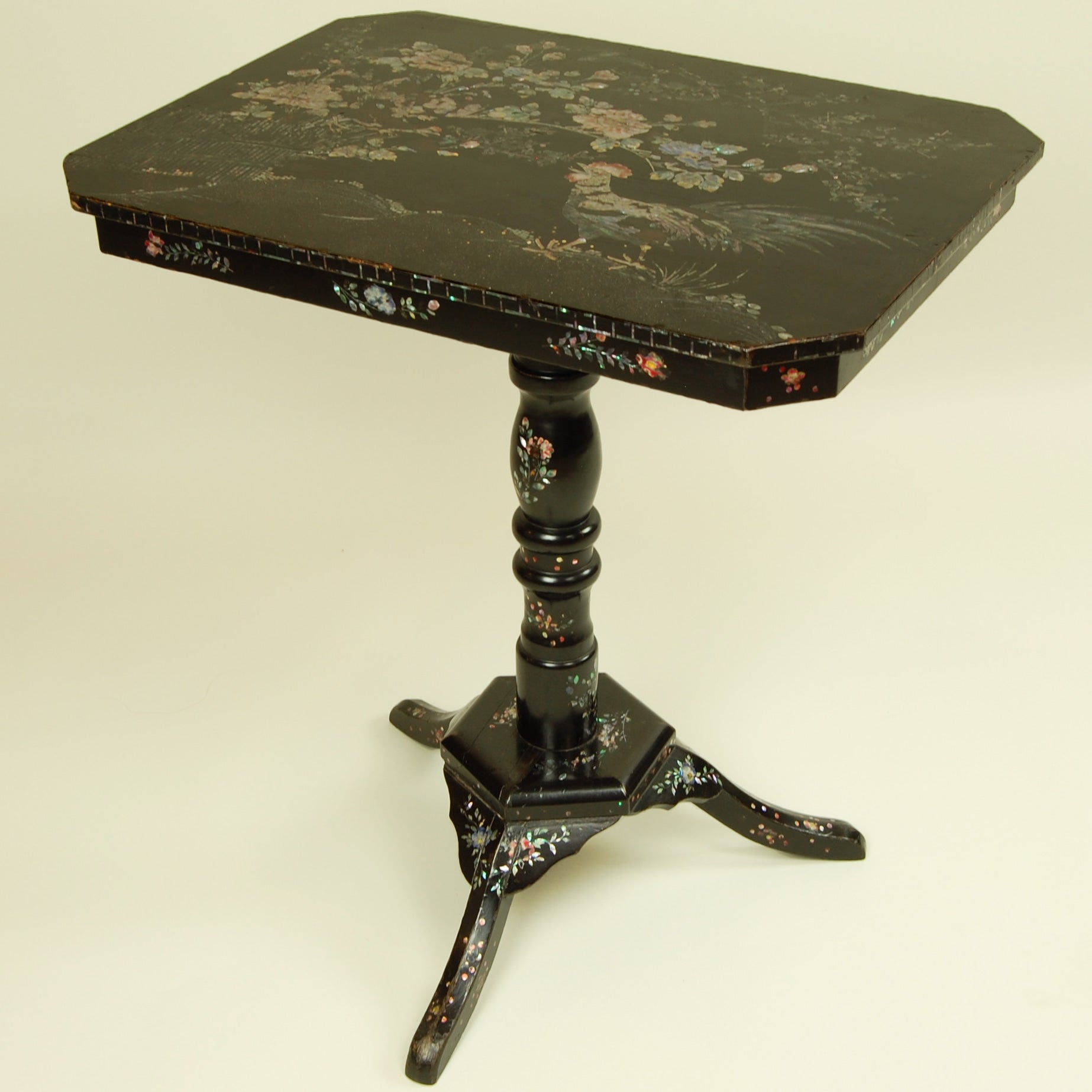 Antique Side Table with Mother of Pearl Inlay