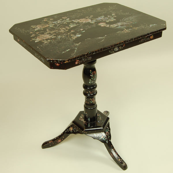 Antique Side Table with Mother of Pearl Inlay Side View