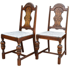 Antique Spanish Style Chairs with Taupe and Brown Upholstered Seat Pair