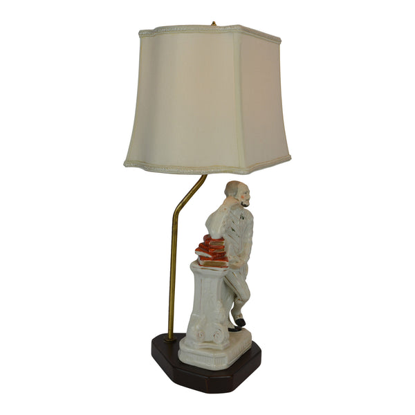 19th Century Staffordshire Portrait Figure of Shakespeare Table Lamp