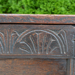Antique English Carved Oak Two-Panel Blanket Chest Front Carving