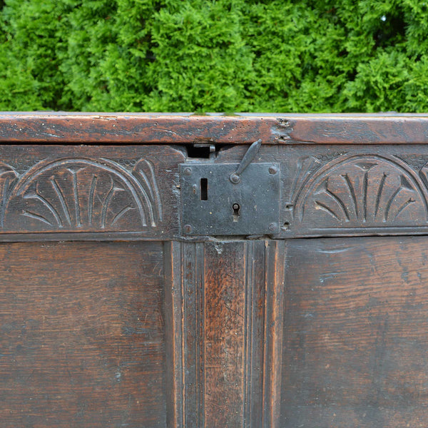 Antique English Carved Oak Two-Panel Blanket Chest European Finds Lock