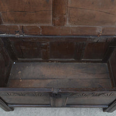 Antique English Carved Oak Two-Panel Blanket Chest European Finds Inside