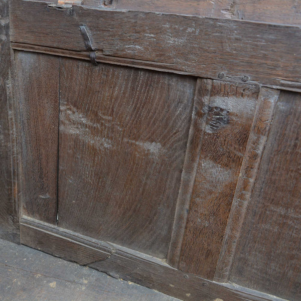Antique English Carved Oak Two-Panel Blanket Chest European Finds Back