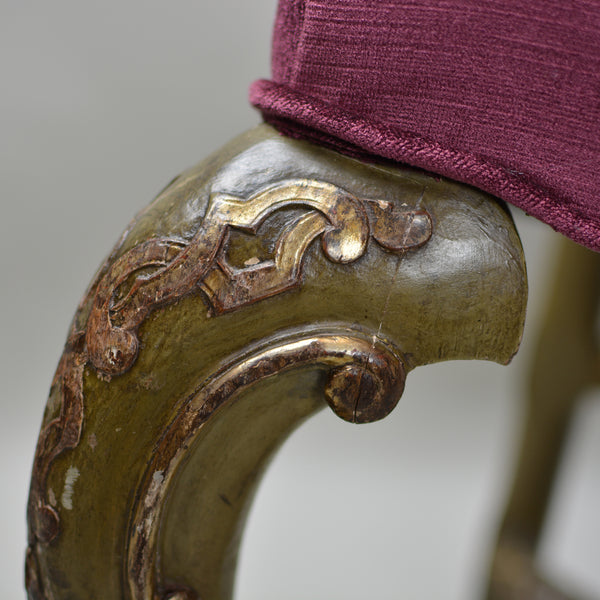 18th Century Antique High Back Chair Set of 4 European Finds Gold Gilt Detail on Carved Leg