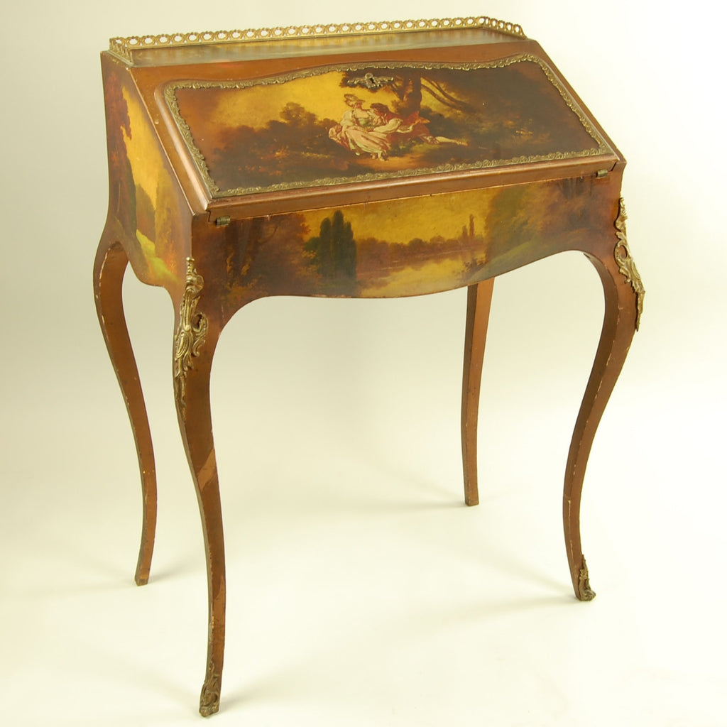 ... Antique Writing Desk with Painted Scene Front Side View ... - Antique Writing Desk With Painted Scene