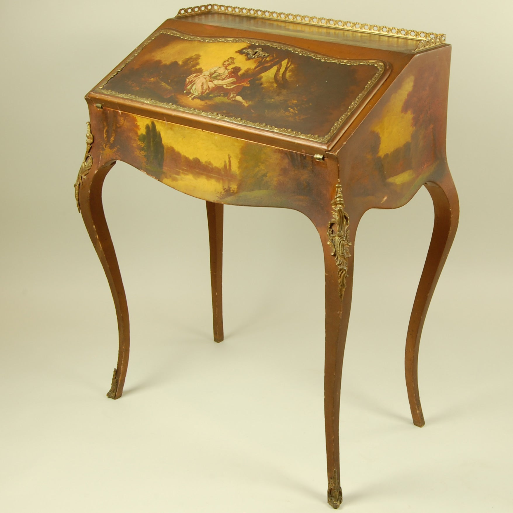 Brand-new Antique Writing Desk with Painted Scene OO23