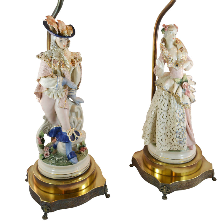 Pair of Boleslaw Cybis Cordey Lamps with Man and Woman