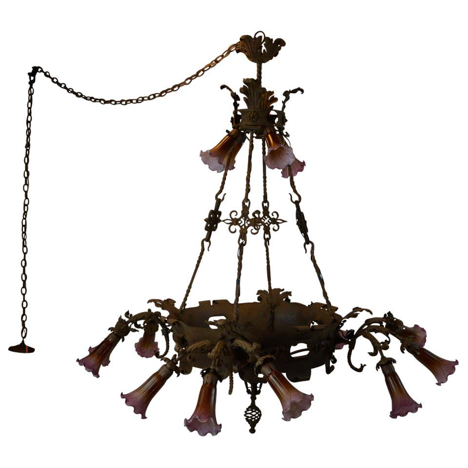 Oversized Unique Antique Metal Chandelier 16-Light Two-Tier