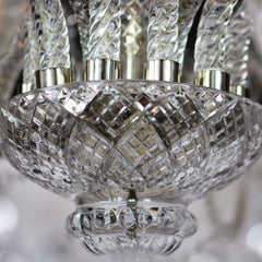 Elegant Large Eighteen-Arm Crystal Chandelier with Draping Crystal Beading