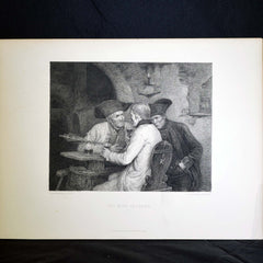 "Antique Print - ""The Wine Tasters"""