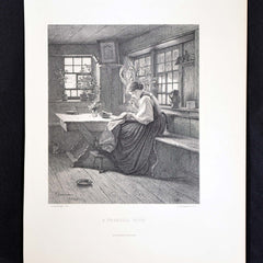 "Antique Print - ""A Tranquil Hour, W Hasemann"""