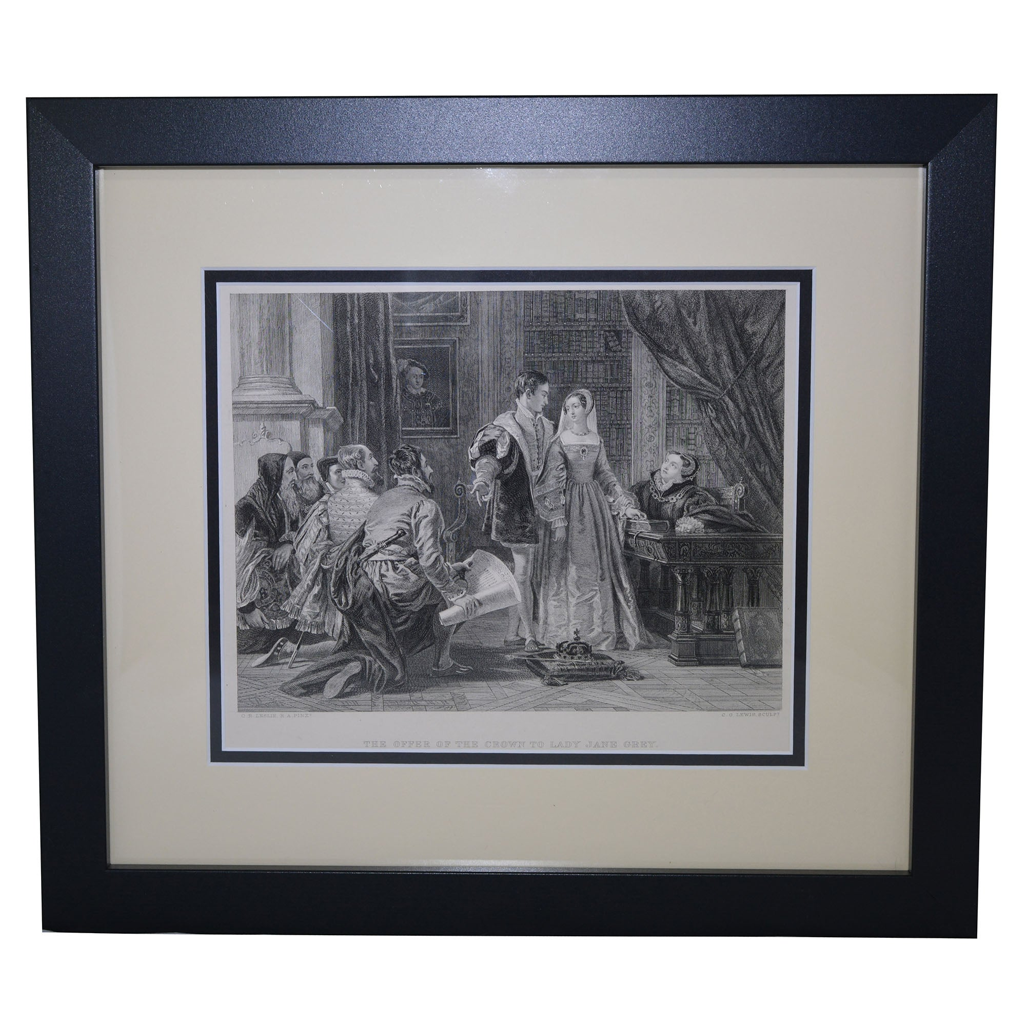 Antique Print - The Offer of the Crown to Lady Jane Grey