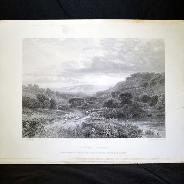 Antique Print - Sunset - Sussex