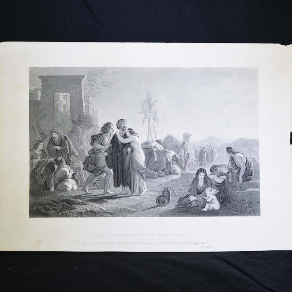 "Antique Print - The Liberation of the Bondservants, ""and then shall he depart from thee, both he and his children"