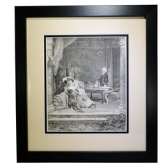 "Antique Print - ""The Professor's Lecture"""