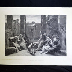 "Antique Print - ""Job and His Friends"""