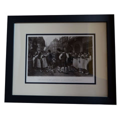 Antique Print - The Fair of the Servants at Bouxwiller (Alsace)