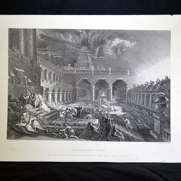 Antique Print - Belshazzar's Feast; And this is the writing that was written Mene, Mene, Tekel, Upharsin