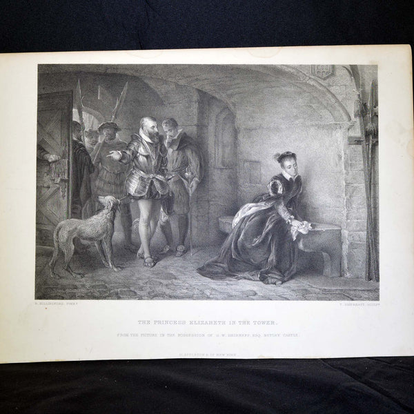 "Antique Print - ""The Princess Elizabeth in the Tower"""