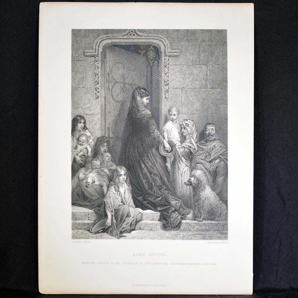 "Antique Print - ""Alms Giving"""