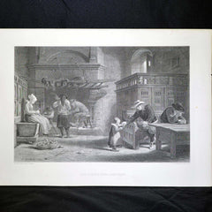 "Antique Print - ""The Homely Meal, Brittany"""