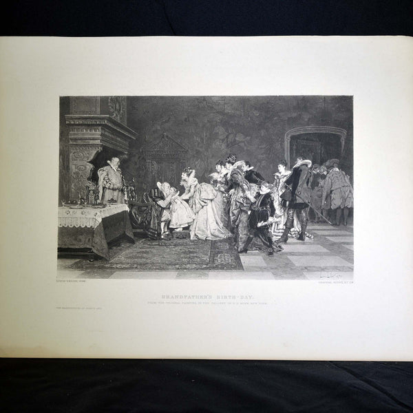 "Antique Print - ""Grandfather's Birthday"""