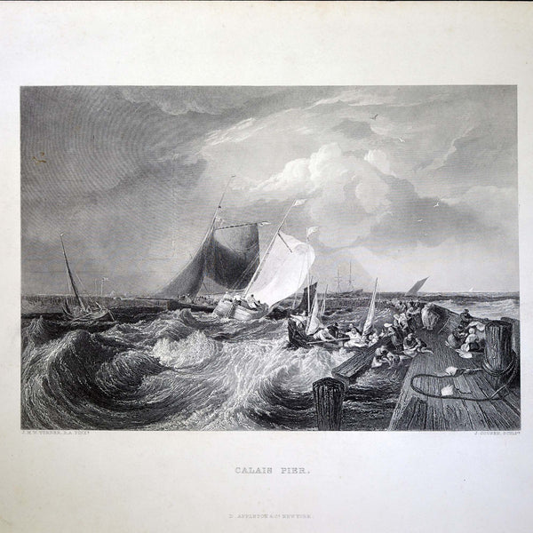 "Antique Print - ""Calais Pier"""
