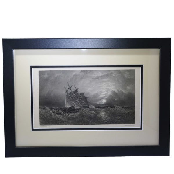 "Antique Print - ""Ship in the storm - O. W. Brierly Title H. M. S. ""Galatea"" on a Cruise"""