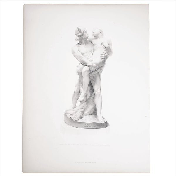 Antique print of Warrior and Wounded Youth Engraved by E. Stodart from the Statue by W. J. S. Webber