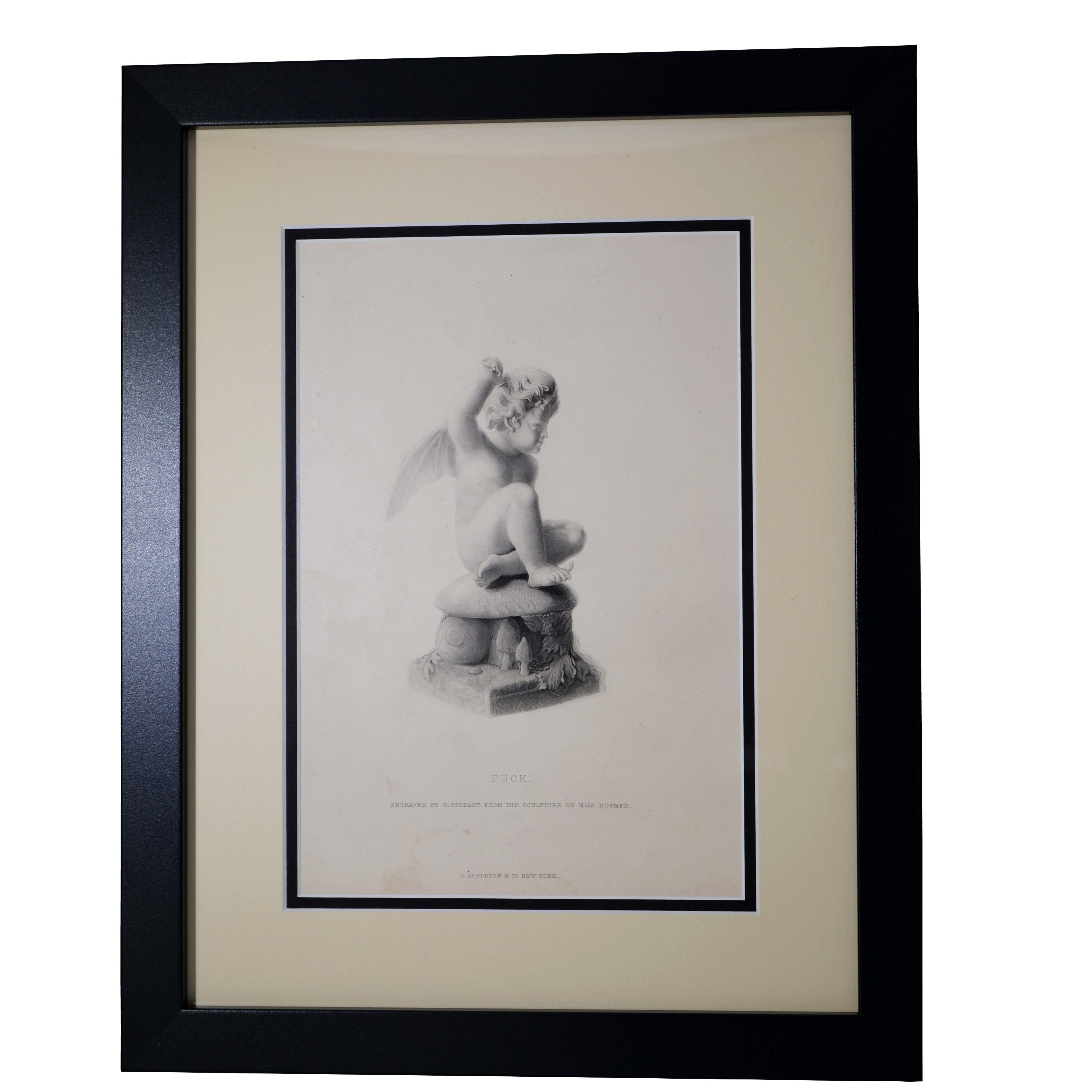 Antique Print - Puck, Engraved by G. Stodart from the Sculpture by Miss Hosmer