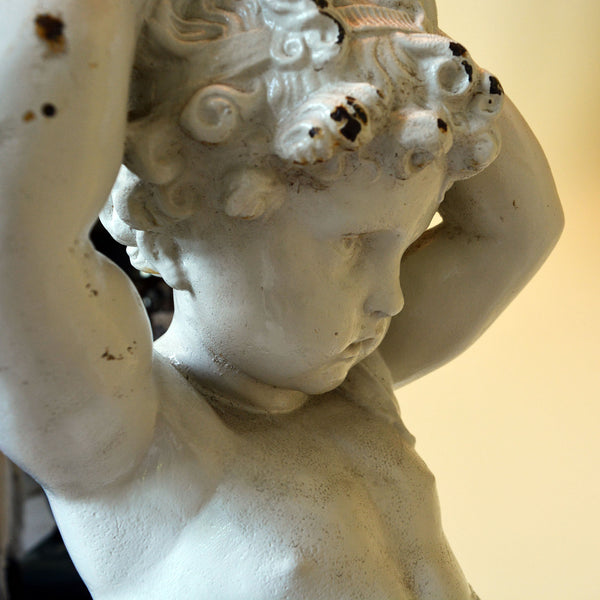 Cast Iron Cherub Floor Lamp with Black Silk Shade on Marble Base