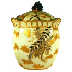 Aesthetic Movement Hobbyist Painted Limoges Porcelain Biscuit Jar
