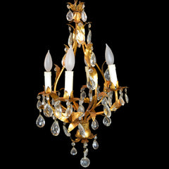 Gilded Metal Italian Four-Light Chandelier