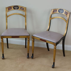 19th Century Regency Chairs with Hand Painted Backs Leather Seats - Pair
