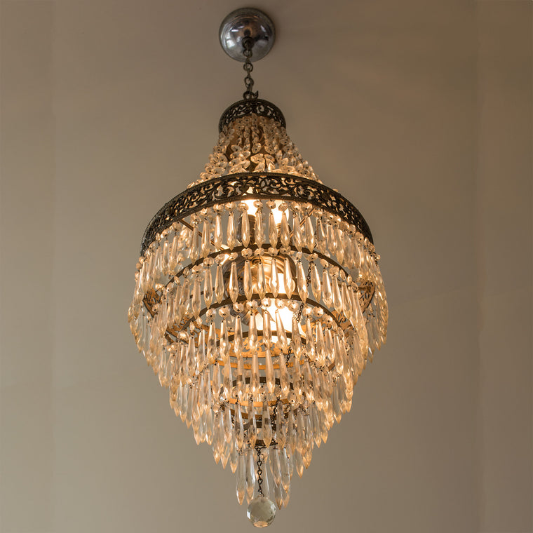 Fine Antique French Empire Style Crystal Chandelier