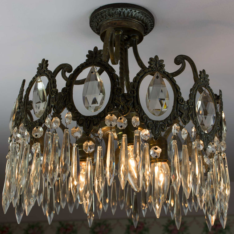 Early 20th Century French Crystal Prism Flush Mount Light