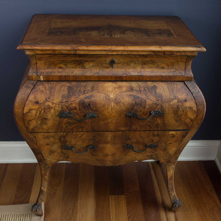 French Louis XV Style Commode Bombe Chest Dresser Chest of Drawers