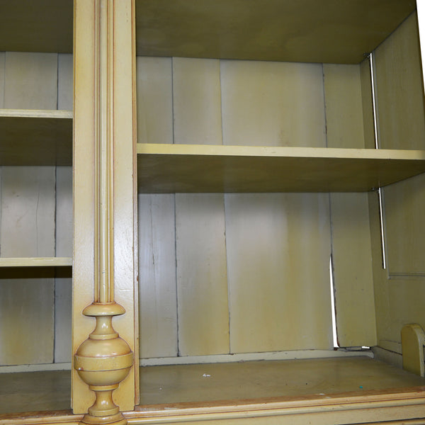 Tall Antique Cabinet with Mirrored Doors Adjustable Shelves and Two Drawers